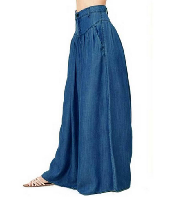 Women Bohemian Casual Plain Wide Leg Pants