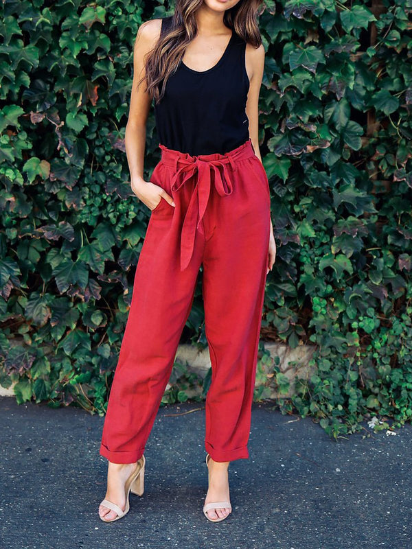 Women Red Casual Cotton-blend Pants