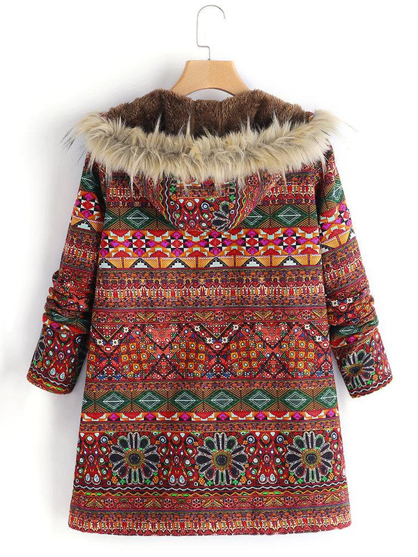 Women Ethnic Printed Faux Fur Hooded Fleece Autumn Winter Coat