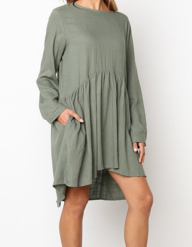 Women Daily Casual Long Sleeve Solid Pleated Dress