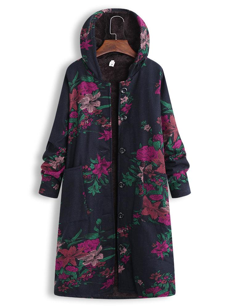 Thick Floral Print Long Sleeve Hooded Vintage Coat