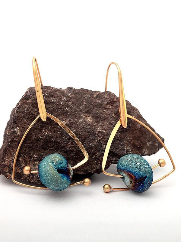 Women Cosmos Blue Natural Stone Earrings