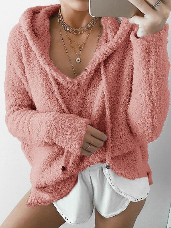 Hoodie Long Sleeve Casual Mohair Women's Sweater