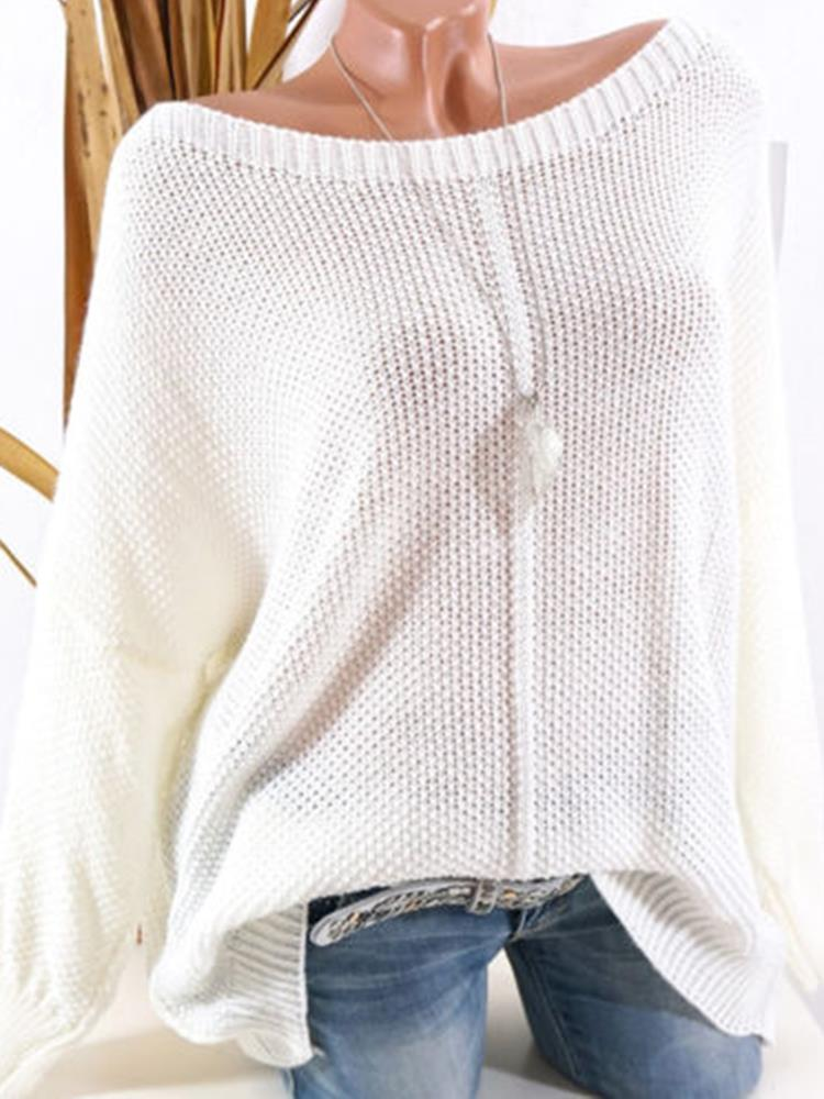 Women Knit Solid Color Boat Neck Loose Sweater