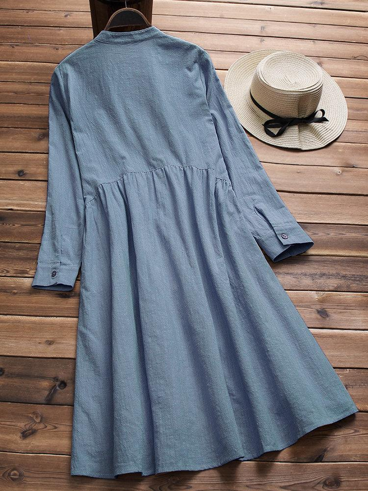 Stand Collar Pleated Solid Color Long Sleeve Cotton Dresses