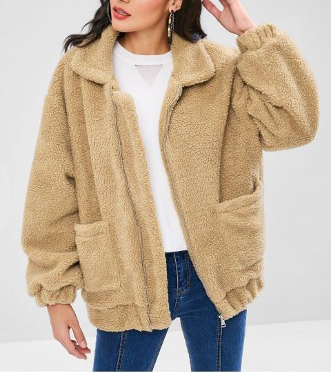 Women Zip Up Fluffy Winter Coat