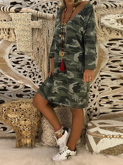 Women V Neck Camouflage Printed Dresses Shift Midi Dresses