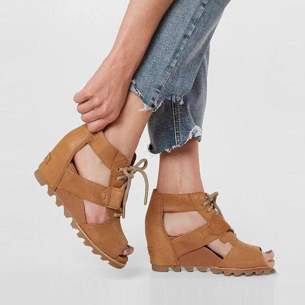Wedge Heel Peep Toe Lace up Casual Sandals