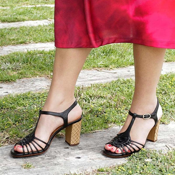 Women T-strap Buckle Sandals Elegant Soft Pumps