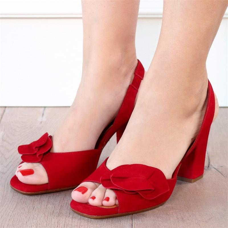 Bow Embellishment Slingback Sandals Chunky Heel Shoes