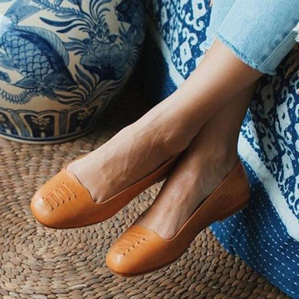 Solid Flat Heel Split Leather Flats