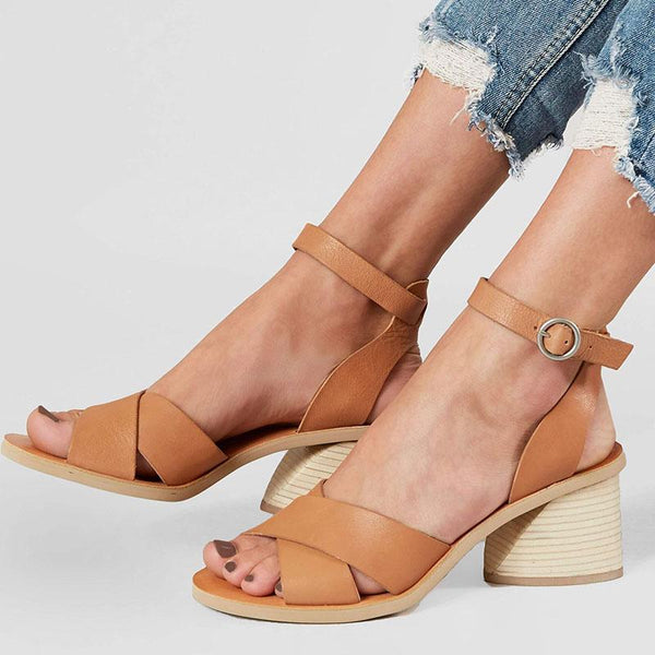 Roman Style Chunky Heel Olive Sandals