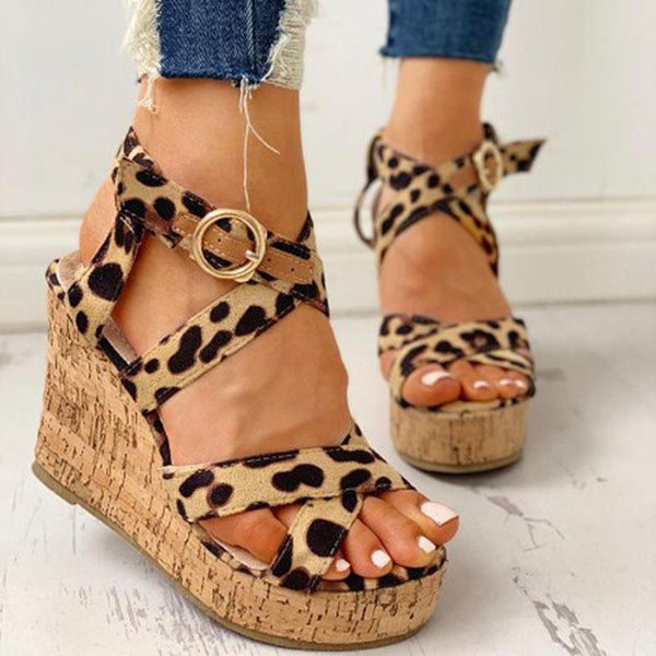 Women Suede Crisscross Design Platform Wedge Sandals