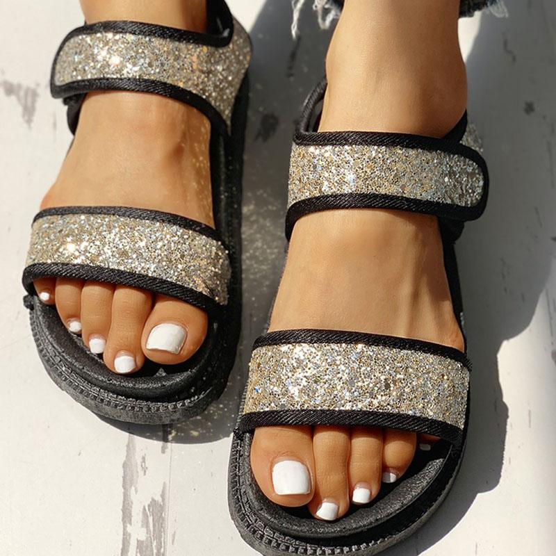 Women Sequins Velcro Design Open Toe Flat Sandals