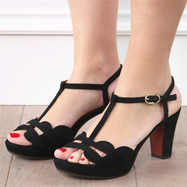 Black Color Women's Elegant Sandals Heeled Shoes