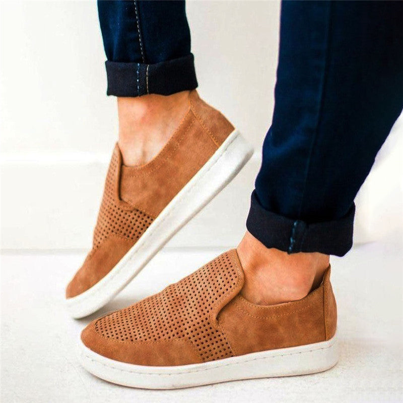 Casual Loafers Solid Color Slip-On Flat Athelitic Shoes