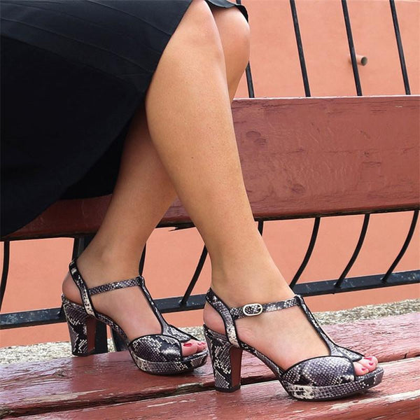 Women Chunky Heel Shoes Elegant Platform T-strap Sandals
