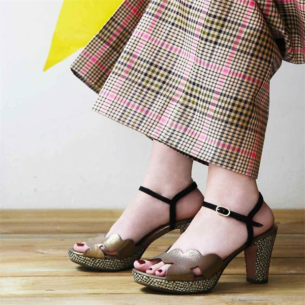 Women High Heel Buckle Sandals Elegant Platform Pumps