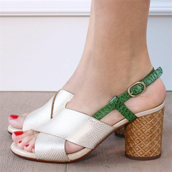 Women's Criss Cross Peep Toe Sandals Pumps