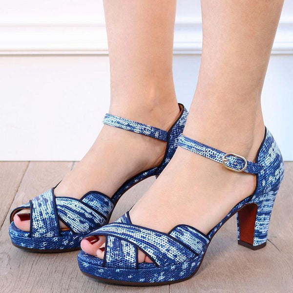 Women Elegant Peep Toe Chunky Heel Sandals Pumps