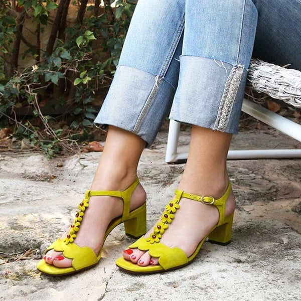 Women Fashion T-strap Sandals Elegant Buckle Shoes