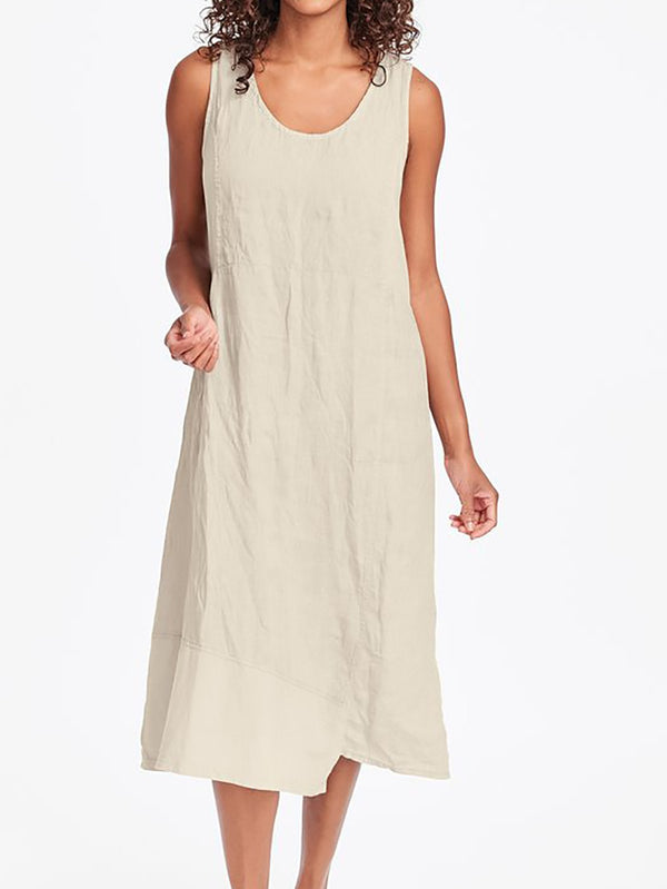 CASUAL SLEEVELESS LINEN MAXI DRESSES