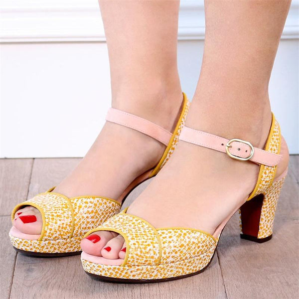 Women's Printed Peep Toe Pumps Sandal Elegant Shoes