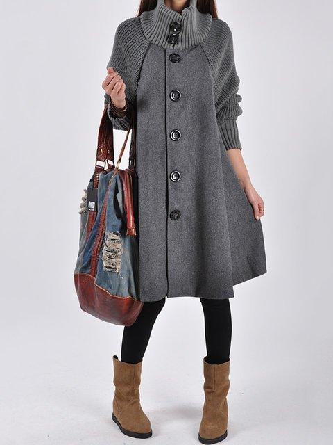 Knitted Buttoned Turtleneck Solid A-line Pea Coat