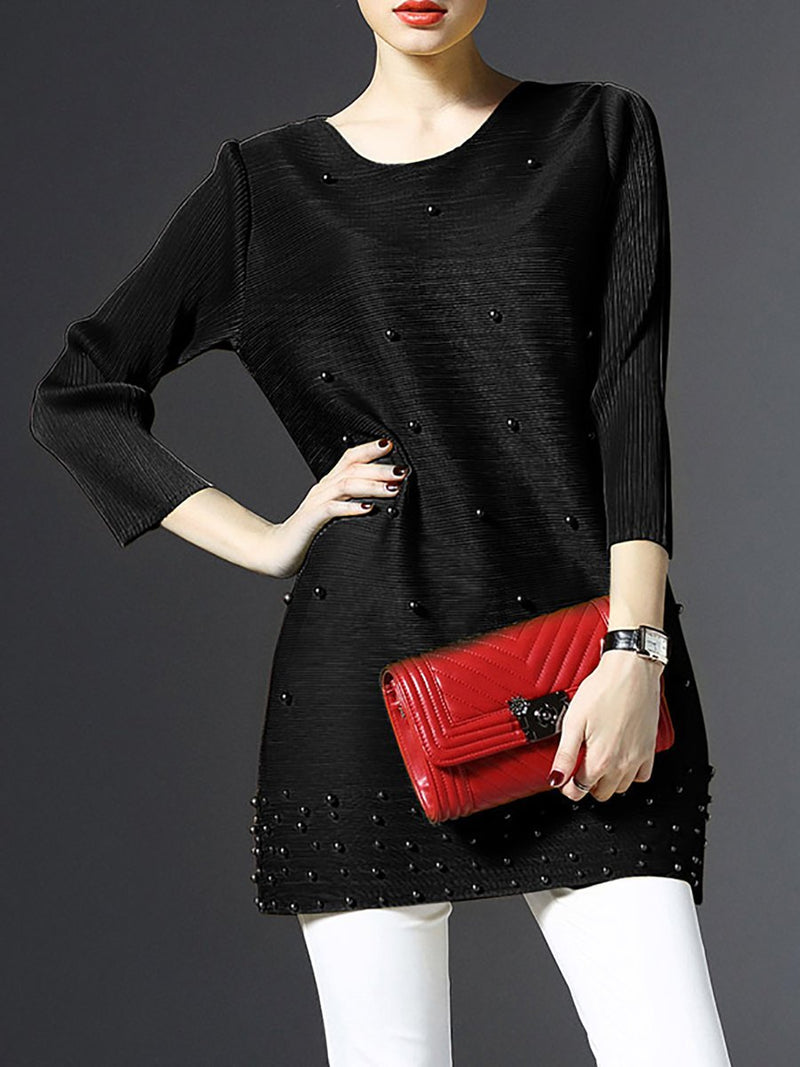 Women Crew Neck Beaded Pleated 3/4 Sleeve Tunics