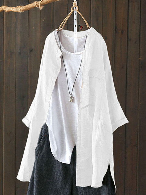 Women Long Sleeve Linen Cardigans Shirts&Blouses
