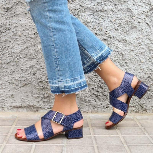 Women Soft Leather Sandals Elegant Buckle Shoes