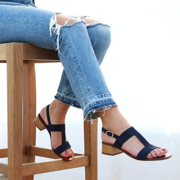 Women's Elegant Peep Toe Low Heel Shoes Summer Sandals