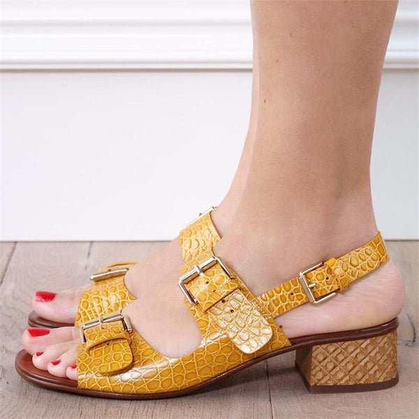 Women's Elegant Slingback Buckle Sandals Chunky Heel Shoes