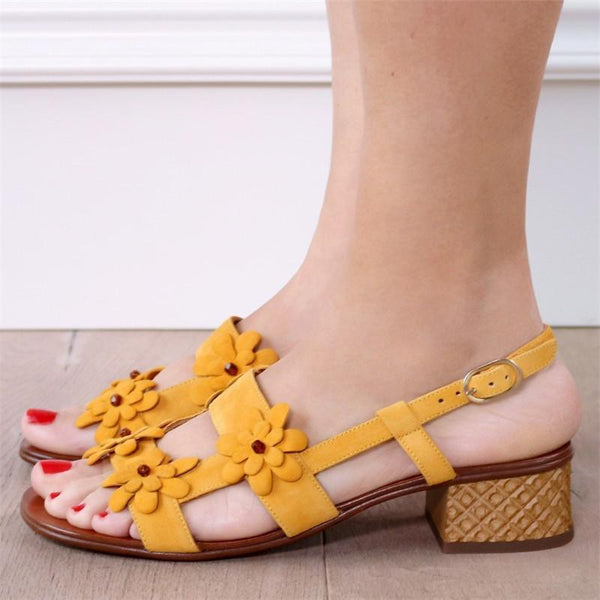 Flowers Decoration Chunky Heel Sandals Elegant Shoes