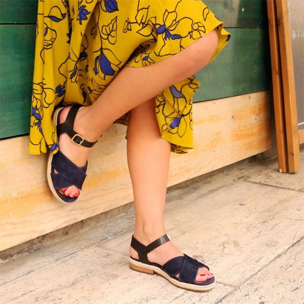 Summer Casual Open Toe Sandals Low Heel Shoes Navy