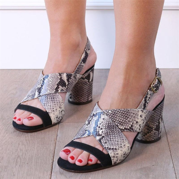 Snake Printed Chunky Heel Shoes Slingback Sandals For Women