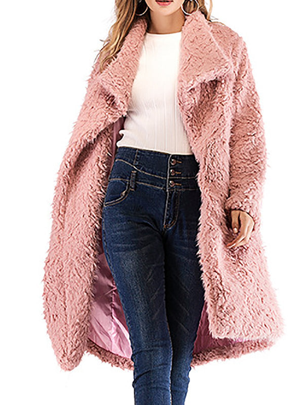 Casual Solid Winter Fall Pink Long Sleeve Shift Coat