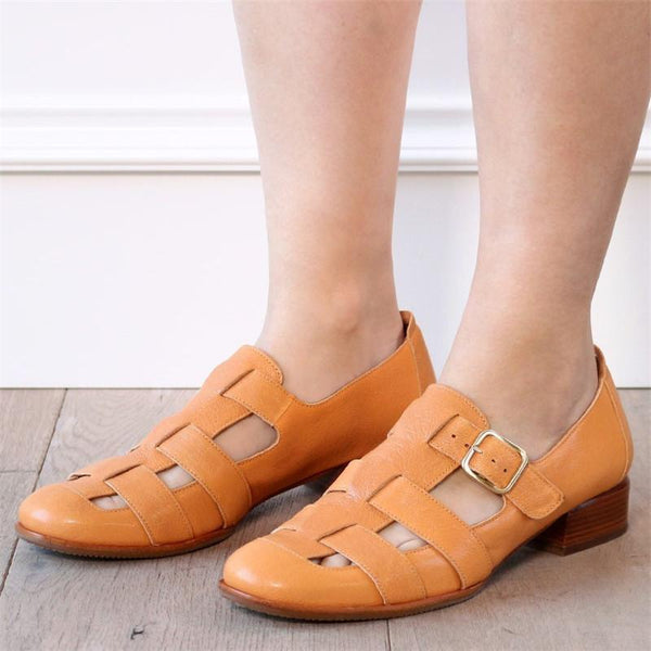 Tan Color Hollow-out Sandals Slip-on Shoes