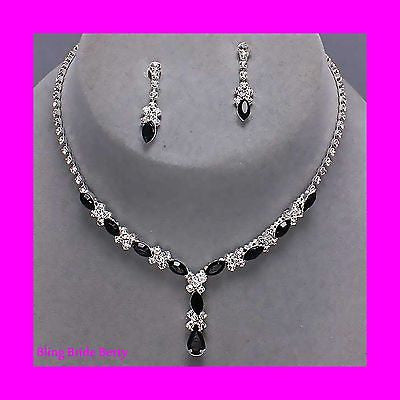 8c117601b ... Beautiful Y Drop Evening Party Black Bridal Bridesmaid Necklace Earring  Rhinestone Bling