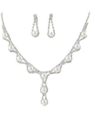 Stunning Y Drop Bridal Wedding White Pearl Necklace Earring Set SilverTone Bling