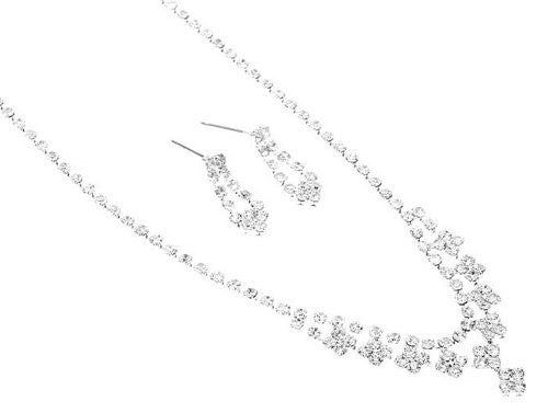 Danity and Chic V Neck Rhinestone Bridal Bridesmaid Necklace Earring Set