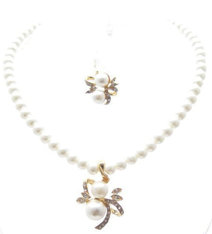 Vintage Cream Off-white Pearl Bridal Necklace Earring Set W Crystal on Gold Tone CG6