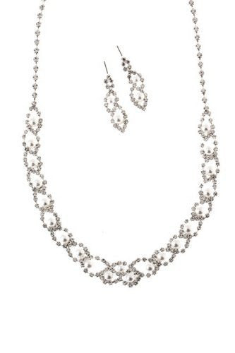 Dainty Loop White Faux Pearl Bridal Necklace Set W Crystal