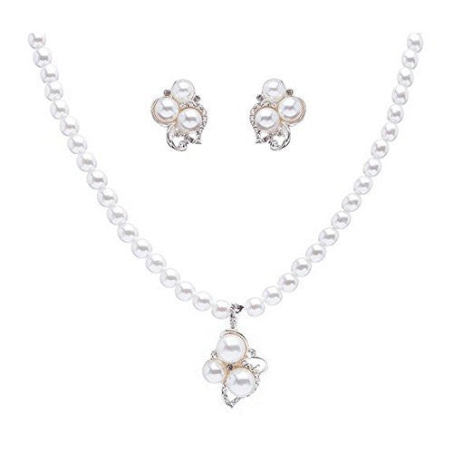 Elegant White Pearl Blossom Drop Bridal Bridesmaid Necklace Earring Set CE1
