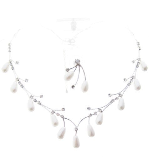 Delicate Spray White Pearl Bridal Necklace Set W Crystal Silver Tone