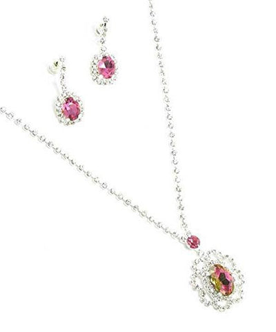 Beautiful Drop Evening Party Pink Tear Drop Dangle Bridal Necklace Earring Rhinestone DQ7