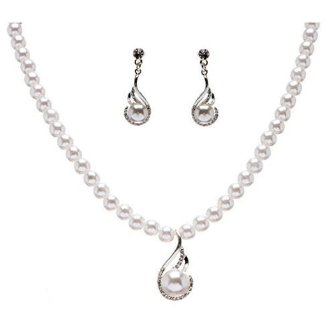 Women Bridal Wedding Prom Fashion Jewelry Set Crystal Pearl Exquisite Necklace Silver