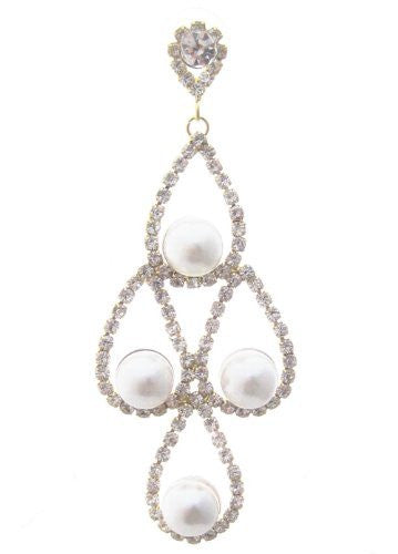 Bling Cream Faux Pearl Chandelier Bridal Earrings W Gold Tone W Rhinestones