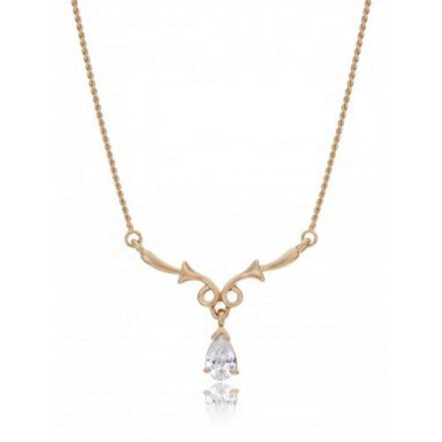 "The ""Emily"" Floral Y Drop CZ Bridal Necklace Gold Plating [Jewelry]"