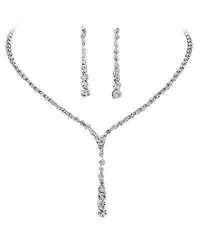 Stunning Graduated Y Drop Silver Tone Bridal Evening Crystal Necklace and Earring